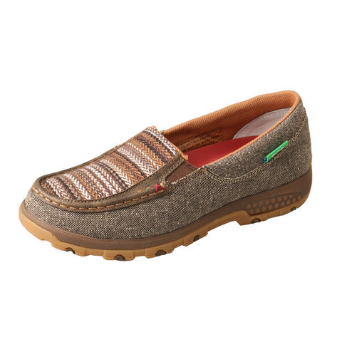 Twisted X Slip-On Shoes Khaki/Grey Multi Womens Fabric Driving Mocs