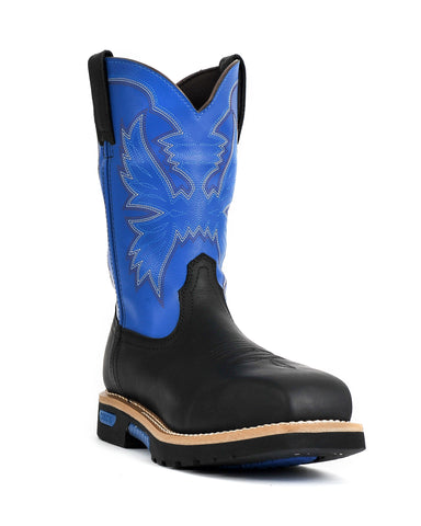 Cinch 11in CT WP Mens Black/Royal Blue Leather Master Work Boots