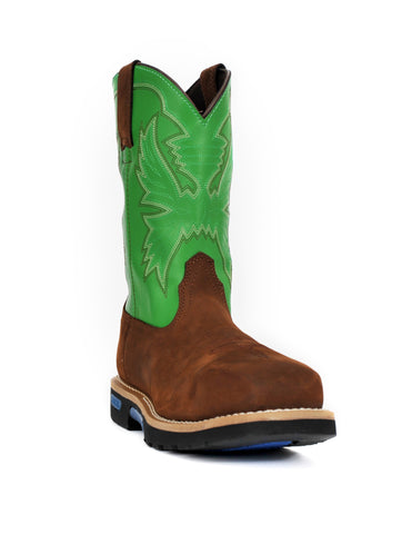 Cinch 11in CT WP Mens Brown/Spring Green Leather Master Work Boots