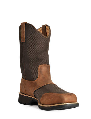 Cinch Work WP ST Mens Brown Leather Commander Cowboy Boots