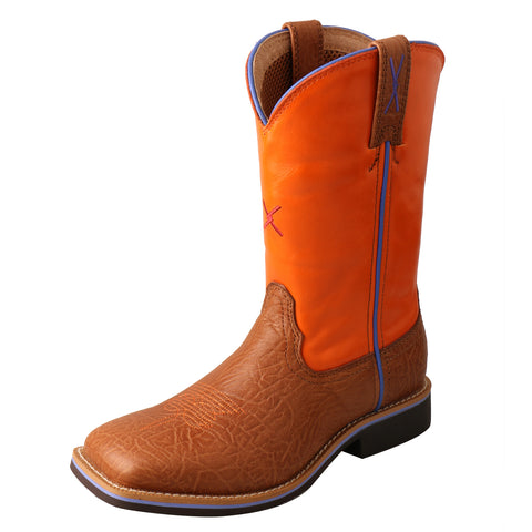 Twisted X Western Work Tan/Orange Kids Leather Cowboy Boots