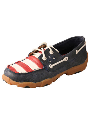 Twisted X Youth Unisex Blue Leather USA Flag Casuals for Cowkids Shoes