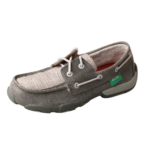 Twisted X Boat Shoes Light Grey Kids Leather Driving Mocs
