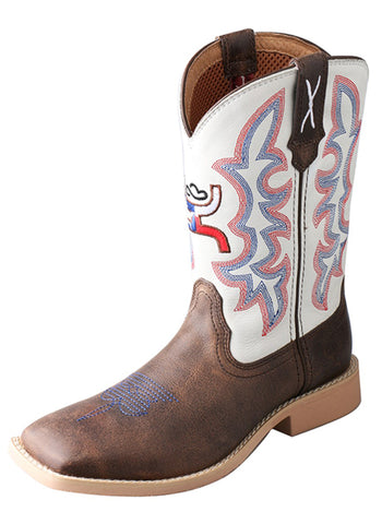Twisted X Youth Unisex White Leather Brown Hooey Cowboy Boots