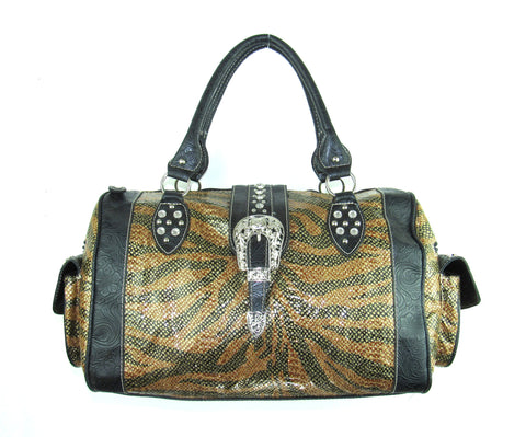 Savana Brown Faux Leather Ladies Brown Duffle Bag Tiger Print Studded