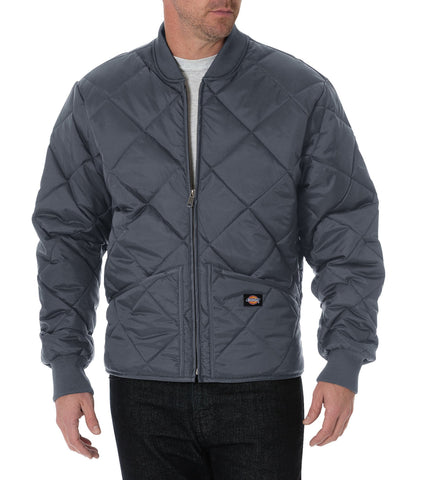 Dickies Mens Charcoal Diamond Quilted Nylon Jacket