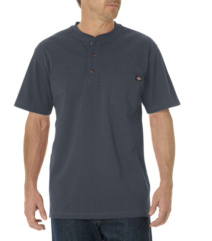 Dickies Mens Charcoal S/S Short Sleeve Heavyweight Henley