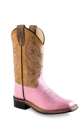 Old West Pink Children Girls Brown Corona Calf Cowboy Western Boots