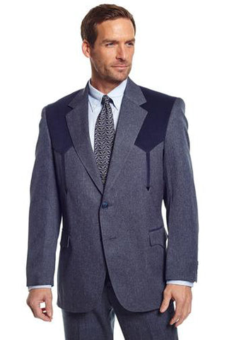 Circle S Mens Heather Navy Polyester Boise Sportcoat Western