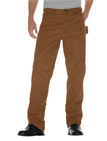 Dickies Mens Rinsed Brown Relaxed Fit Straight Leg Carpenter Duck Jean