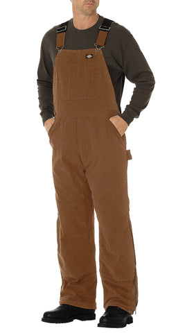 Dickies Mens Rinsed Brown Sanded Duck Insulated Bib Overall