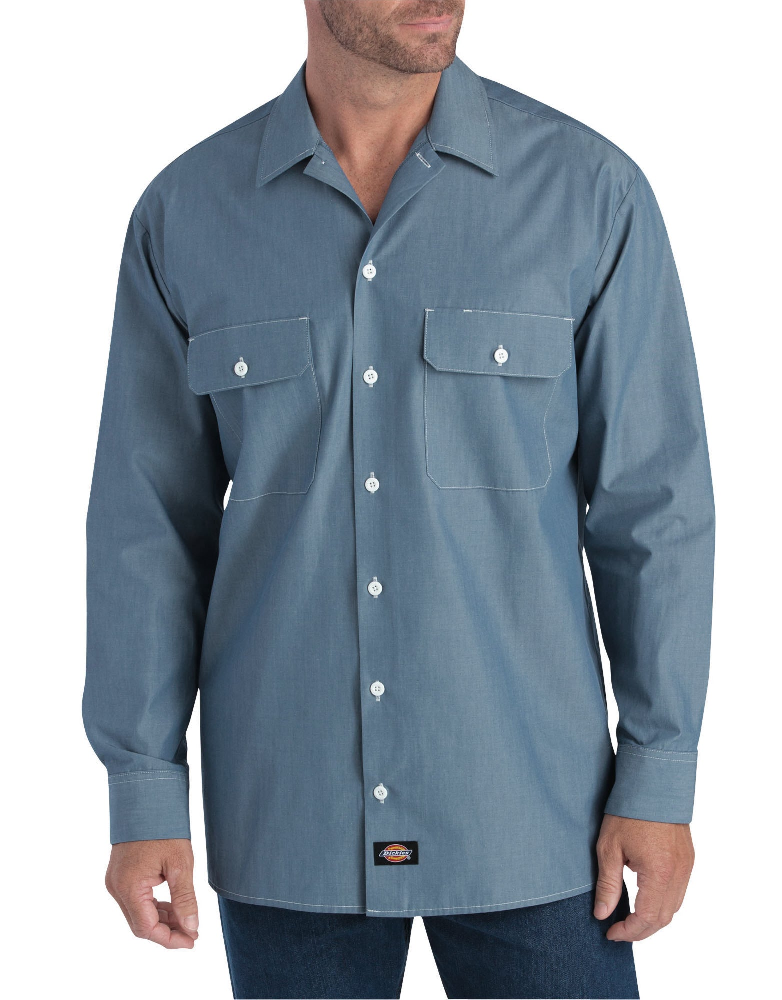 38cf259d93280f Dickies Mens Blue Chambray L S Relaxed Fit Long Sleeve Chambray ...