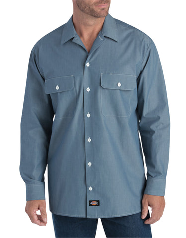 Dickies Mens Blue Chambray L/S Relaxed Fit Long Sleeve Chambray Shirt
