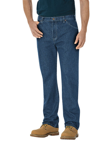 Dickies Mens Indigo Blue Regular Straight Fit 6-Pocket Denim Jeans
