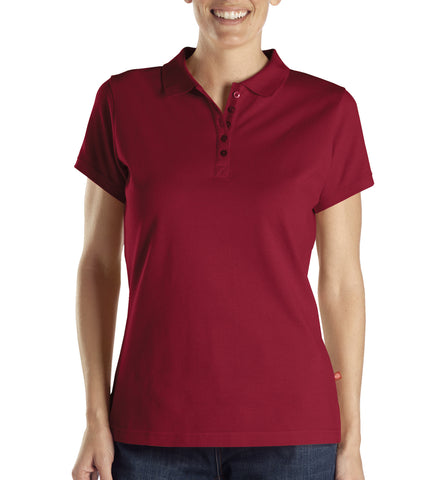 Dickies Womens Cherry Red S/S Womens Solid Pique Polo