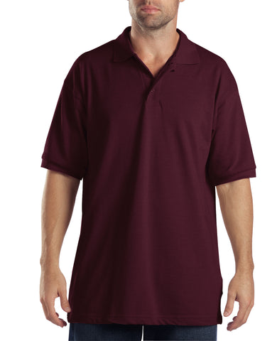 Dickies Mens Burgundy S/S Adult Sized Short Sleeve Pique Polo Shirt