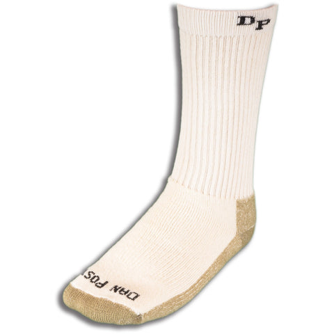 Dan Post Socks Mens White Mid Calf Cotton Blend Med Weight 4 Pairs