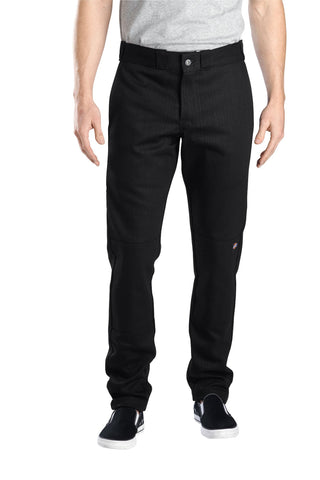 Dickies Mens Black Flex Skinny Straight Fit Double Knee Work Pant