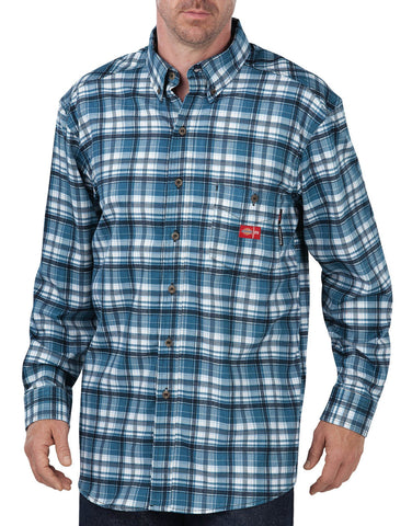 Dickies Mens Ash Blue/White Plaid L/S Fr L/S Plaid Shirt