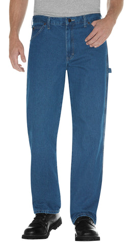 Dickies Mens Indigo Blue Relaxed Fit Stonewashed Carpenter Denim Jean