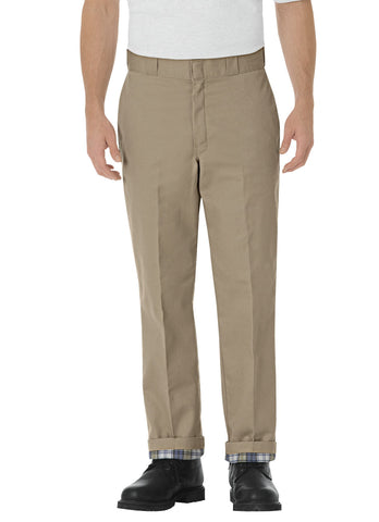 Dickies Mens Khaki Relaxed Fit Flannel Lined Work Pants