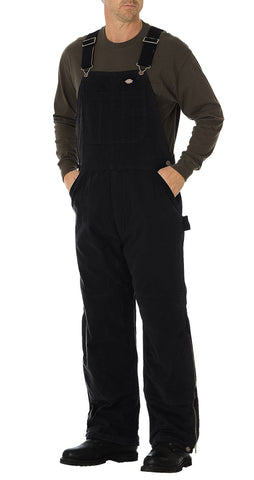 Dickies Mens Rinsed Black Sanded Duck Insulated Bib Overall