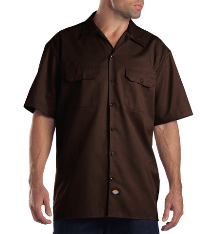 Dickies Mens Dark Brown S/S Short Sleeve Work Shirt