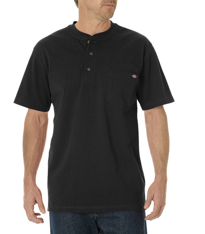 Dickies Mens Black S/S Short Sleeve Heavyweight Henley