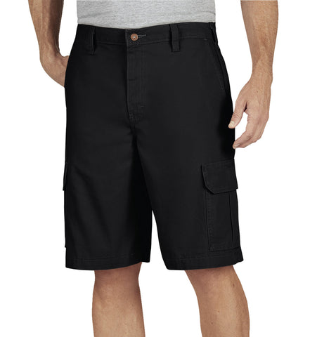 Dickies Mens Rinsed Black 11In Lightweight Duck Cargo Short