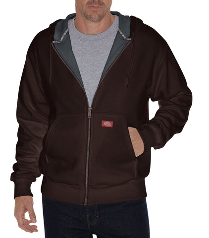 Dickies Mens Dark Brown Thermal Lined Fleece Hoodie