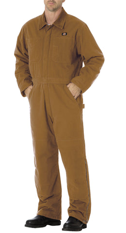 Dickies Mens Rinsed Brown Sanded Duck Insulated Coveralls