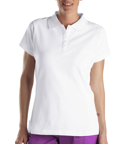 Dickies Womens White S/S Womens Solid Pique Polo