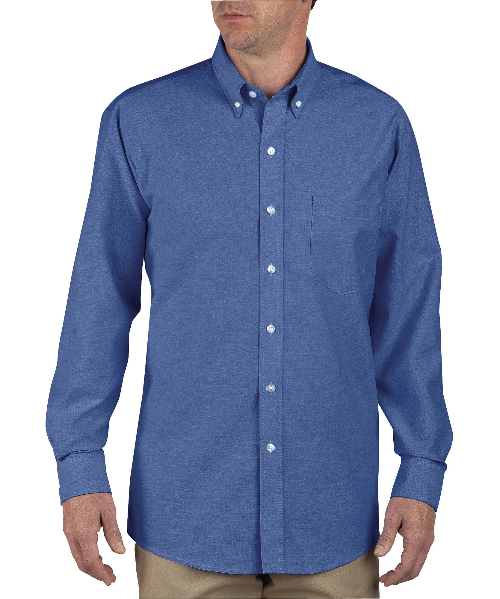 131abc62 Dickies Mens French Blue L/S Button-Down Long Sleeve Oxford Shirt ...