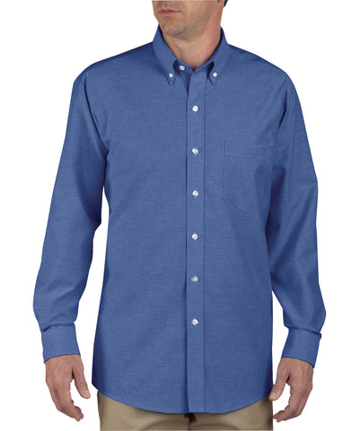 Dickies Mens French Blue L/S Button-Down Long Sleeve Oxford Shirt
