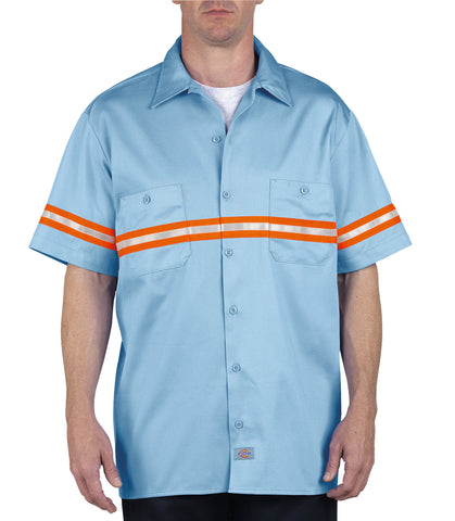 Dickies Mens Light Blue L/S Enhanced Visibility S/S Twill Work Shirt