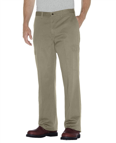 Dickies Mens Rinsed Khaki Loose Fit Straight Leg Cargo Pants