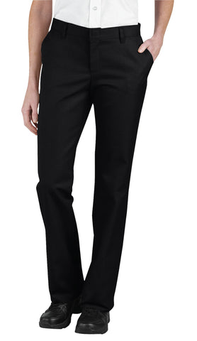Dickies Womens Black Womens Relaxed Fit Flat Front Pants