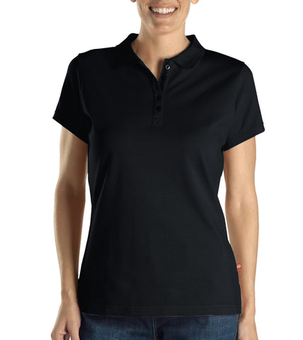 Dickies Womens Black S/S Womens Solid Pique Polo