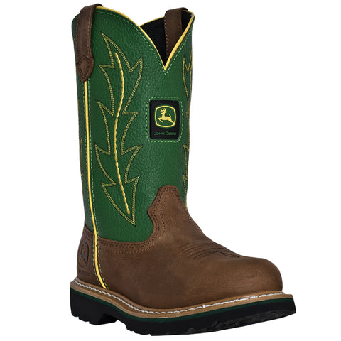 John Deere Womens Green Leather 10in Classic Pull-On Cowboy Boots