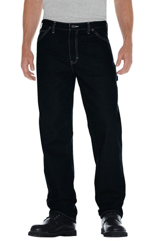 Dickies Mens Rinsed Indigo Blue Straight Fit Carpenter Denim Jean