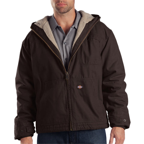 Dickies Mens Rinsed Chocolate Brown Duck Sherpa Lined Hooded Jacket