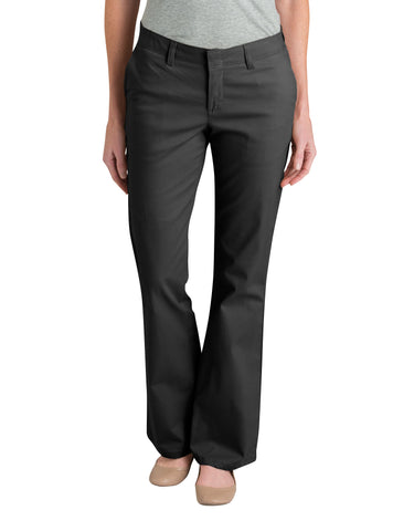Dickies Womens Black Womens Slim Fit Boot Cut Stretch Twill Pants