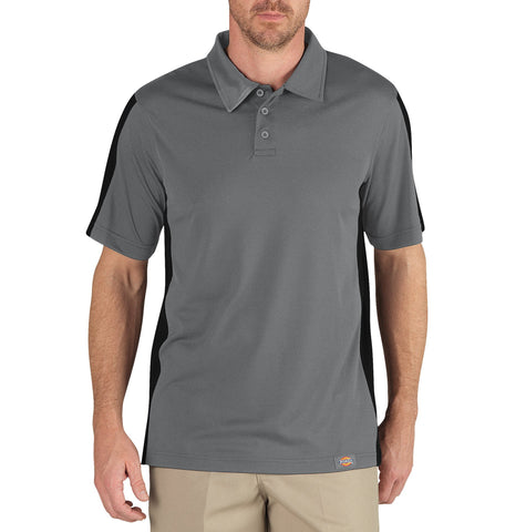 Dickies Mens Smoke/ Black S/S Industrial Color Block Polo Shirt