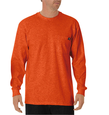 Dickies Mens Orange L/S Long Sleeve Heavyweight Crew Neck Tee