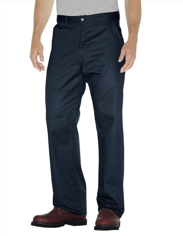 Dickies Mens Dark Navy Premium Cotton Flat Front Pants