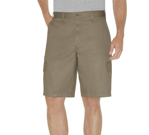 Dickies Mens Rinsed Khaki 10In Loose Fit Cargo Shorts