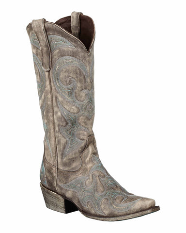 Lane Boots Womens Leather Distressed Love Sick 13in Snip Toe Cowgirl