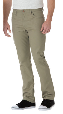 Dickies Mens Desert Sand Slim Straight 5-Pocket Twill Work Pants