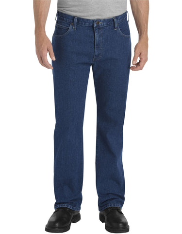 Dickies Mens Rinsed Indigo Flex Straight Leg 5-Pocket Denim Jean