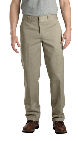 Dickies Mens Khaki Mens Slim Fit Straight Leg Work Pants